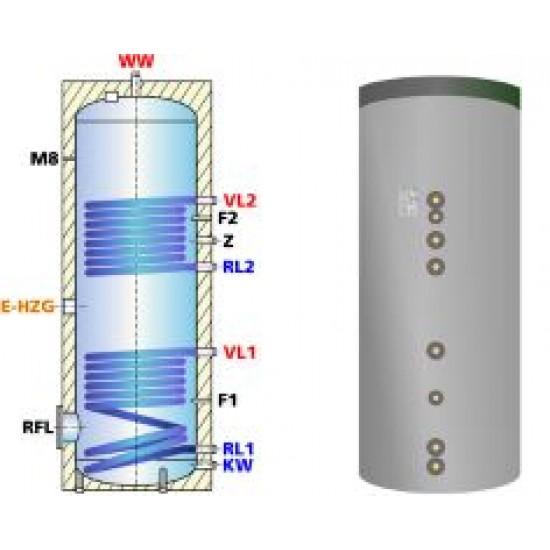 <strong>Ballon préparateur ecs</strong>, solaire et chaudière, avec <strong><strong>deux registres de chauffe</strong> </strong>ESS-PU 300 - 300litres
