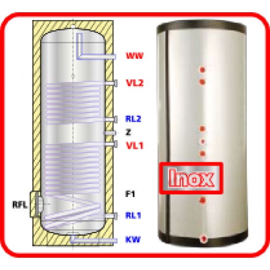 <strong>Ballon préparateur ecs</strong>, solaire et chaudière, en acier inoxydable avec <strong><strong>deux registres de chauffe</strong> </strong>HSS 200, 200 litres