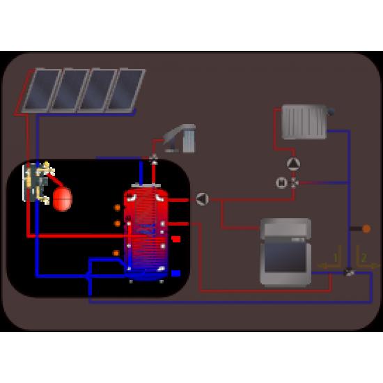 Kit SSC - Solar Perfection SANS LES CAPTEURS SOLAIRES , avec ballon combiné stratifié à production instantanée d'ECS SKSW8-1_1500 de 1500 litres