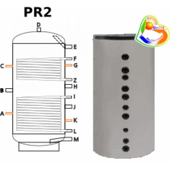 Ballon tampon TWL PR2-800, double échangeur( registres tubulaires), 800 Litres