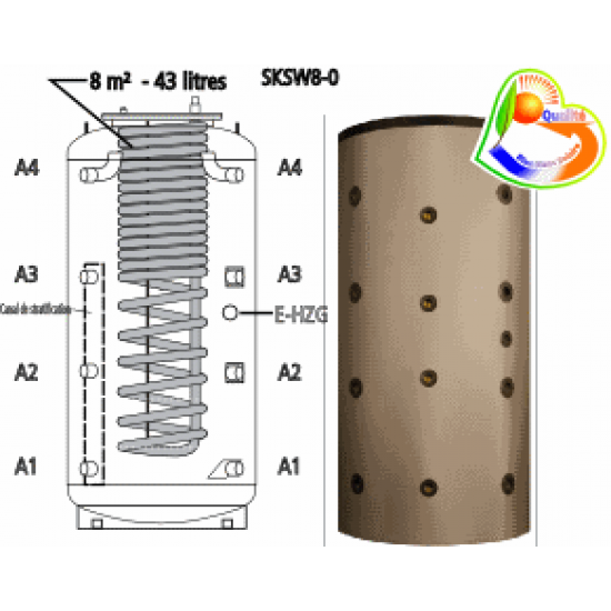 <strong>Ballon tampon combiné stratifié</strong> multifonctionnel <strong>hygiénique</strong> à production instantanée d<strong>'eau chaude sanitaire</strong> SKSW8-0 1500, anti-légionelle, volume 1500 litres avec 43 litres d'ECS instantanée, sans serpentin de chauffe