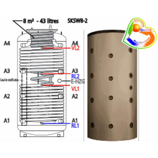 <strong>Ballon tampon combiné stratifié</strong> multifonctionnel <strong>hygiénique</strong> à production instantanée d<strong>'eau chaude sanitaire</strong> SKSW8-2 1250, anti-légionelle, volume 1250 litres avec 43 litres d'ECS instantanée, avec <strong>deux registres de chauffe</strong> additionnels