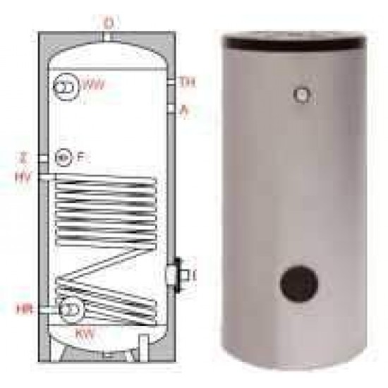 Ballon préparateur ecs, solaire ou chaudière, simple échangeur TWL S 200, 200 litres