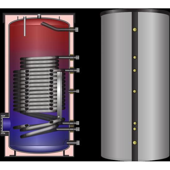 Ballon préparateur ECS spécial PAC, solaire ou pompe à chaleur, haute performance, HLS-Plus 500, avec simple registre de chauffe surdimensionné pour Pompe à Chaleur