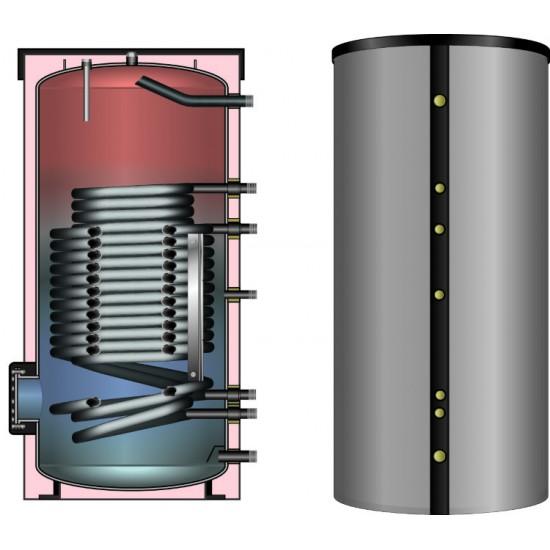 Ballon préparateur ECS spécial PAC, solaire ou pompe à chaleur, haute performance, HLS-Plus 400, avec simple registre de chauffe surdimensionné pour Pompe à Chaleur