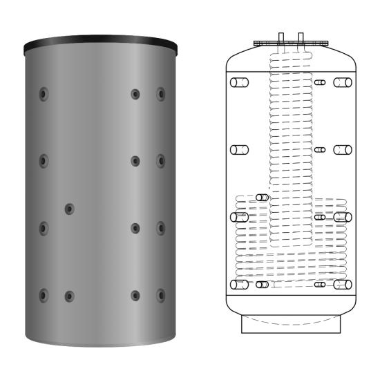 Ballon tampon combiné multifonctionnel hygiénique à production instantanée d'eau chaude sanitaire KER 500, anti-légionelle, volume 800 litres avec 29 litres d'ECS instantanée, avec un simple registre de chauffe, version angle 90°